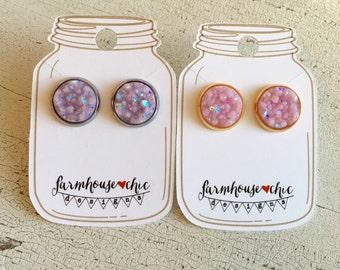 LAVENDER PINK Druzy Earrings
