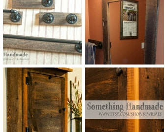 Barn Wood Bathroom complete  set fixtures mirror and cabinet  1892  reclaimed barn wood
