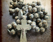 Antique oversized Wood Rosary Nun Monk Carved Beads French - vintage devotion item Souvenir from Lourdes, France