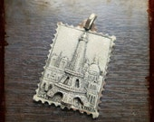 Antique French Silver Paris Tower Eiffel Stamp shaped Medal - Jewelry devotion pendant from France