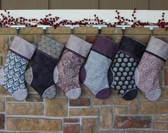 Plush, Purple and Gray Personalized Christmas Stocking w/ Custom Tag. Victorian Christmas, Gift Idea. Best Christmas Stockings Downton Abbey