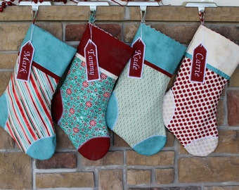 Pick Any 4 Plush Stockings.  Set of Four Personalized Christmas Stockings with Embroidered Name Tags.  SALE.