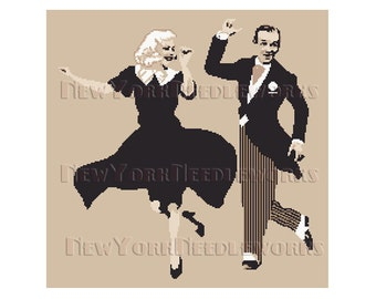 Astaire and Rogers Cross Stitch, Fred Astaire, Ginger Rogers, Vintage Pattern, Dancers Pattern, Vintage Movies by NewYorkNeedleworks on Etsy