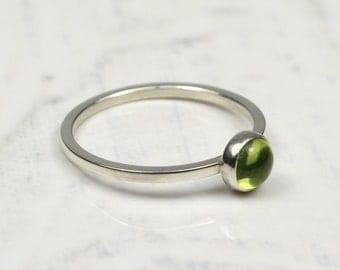 Peridot Birthstone Sterling Silver Ring, Peridot Band Ring