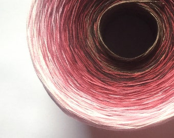 Colour Change Gradient Yarn - chocolate cherry cream - Moca Cotton - 6 colors - 540 yards - fingering yarn -  pure cotton