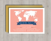 Coral and Gold - Printable Baby Shower Invitation - Girl - Adventure Awaits - World Map