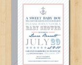 Nautical Baby Shower Invitation - Classy - Baby Boy - Printable