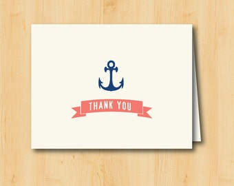 Anchor Thank You Card - Printable - INSTANT DOWNLOAD - Nautical Beach Wedding