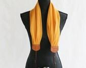 mustard gold chiffon scarf camera strap