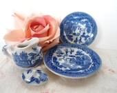 Vintage Blue Willow Transfer Ware Childrens Child Tea Set Plate Saucer Creamer Lid
