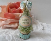 Easter Bottle Brush Trees Roses Spring Aqua Mint Green