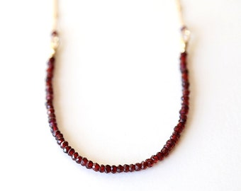 Long Garnet Gemstone Curved U Layering Necklace / 14K Gold Filled / Sterling Silver/ simple everyday modern bridal jewelry