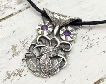 Fine Silver Owl Pendant Necklace with CZs