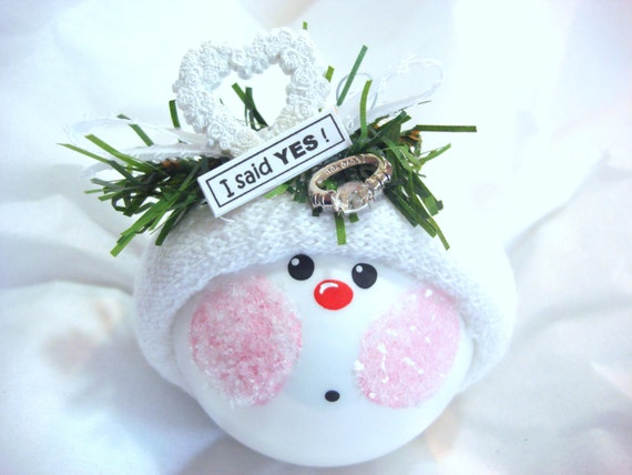Engagement Gift Ornament Wreath Heart Ring Christmas Townsend Custom Gifts