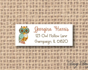 Return Address Labels - Owl with Swirl Designs - 120 self-sticking labels
