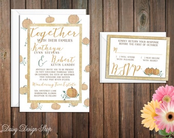 Wedding Invitation - Pumpkins in Gold Watercolor - Invitation and RSVP Card with Envelopes