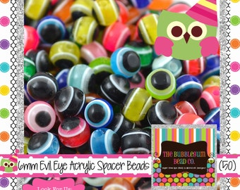 EVIL EYE Beads 6mm Qty 50 Beads Resin Acrylic Chunky Beads Wholesale Beads Bubblegum Bead Chunky Necklace Bubblegum Necklace Supplies