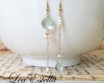 Blue gemstone earrings, Blue Asymmetrical earrings, Aquamarine earrings, Dainty pearl earrings, Blue quartz earrings - Pearls in the Water