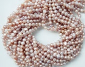 5-6mm Pink mauve, Side Drilled Potato freshwater pearls  - Full Strand, pink mauve . pink rose