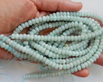 4x6mm Stunning  blue amazonite faceted   rondelle beads .  FULL STRAND (16 inches)