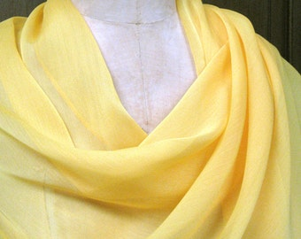 Bright Yellow Chiffon Shawl Wrap Scarf