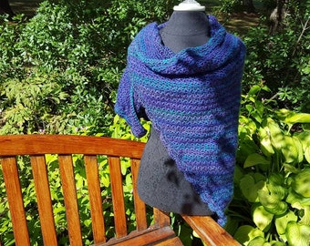 Royal Rhapsody green teal, blue and purple hand crocheted winter warm shawl with scallop edging READY TO SHIP