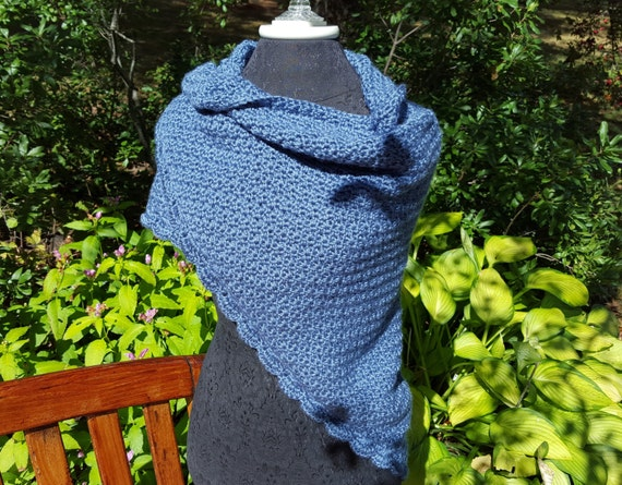 Country blue hand crocheted shawl with moss stitching and scallop edging READY TO SHIP