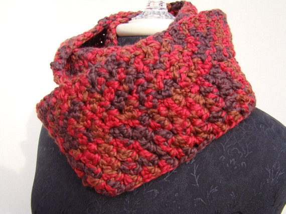 brick red and brown hand crocheted mobius infinity scarf