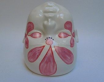 White Handpainted baby head vase