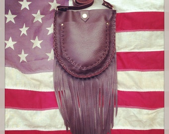 Brown Leather Fringe Purse