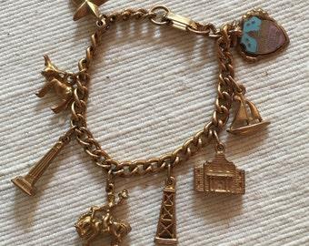 Vintage Texas Themed Souvenir Charm Bracelet