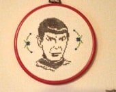 Ready to Ship! Spock cross stitch finished in 5 inch orange red hoop great gift scifi Star Trek Leonard Nimoy hoop art