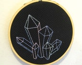 hoop art embroidery mineral crystal gem pastel geometric fiber art completed ready to ship