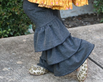Heathered charcol gray triple ruffle leggings sizes 12m - 14 girls