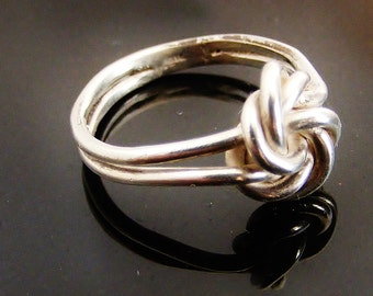 French silver lover's knot ring