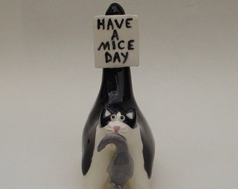 Have a mice day, ceramic miniature cat figurine