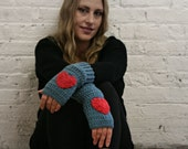 Fingerless Gloves - Texting Gloves - Wrist Warmers - Heart Gloves - Blue & Red Heart