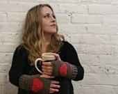 Fingerless Gloves - Texting Gloves - Wrist Warmers - Heart Gloves - Brown & Red Heart