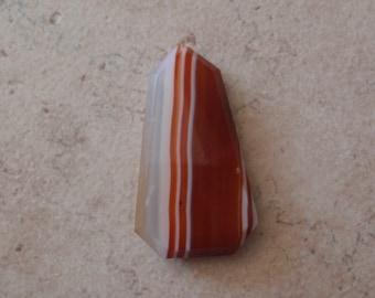 Orange Striped Agate Cabochon Free Form Beveled Edge No Hole Jewelry Supply Destash