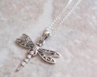 Sterling Dragonfly Necklace Silver Bug Insect Marsala Vintage V0825