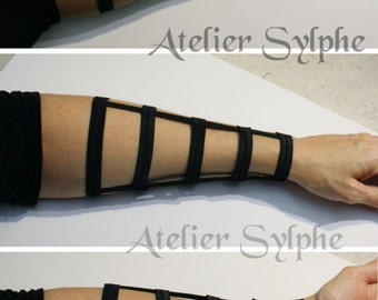 Armlet in black color long wristband fantasy boned and elastic strap