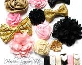 Headband Kit Baby Shower - Gold, Light Pink, Black Ivory - Brilliant - Baby Shower Headband Kit, Headband Making Kit, Headband Baby Girl
