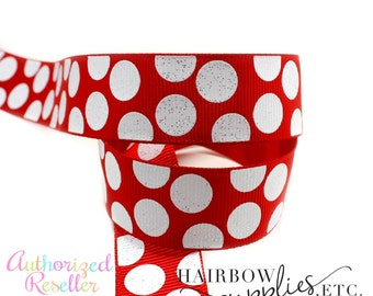 Back to School Polka Dots 7/8 inch Ribbon - Hairbow Supplies, Etc.