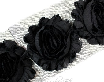 Black Shabby Rose Trim 2-1/2 inches - Black Shabby Flowers, Black Flower Headband, Black Fabric Flower, Black Hair Flowers, Black Flower