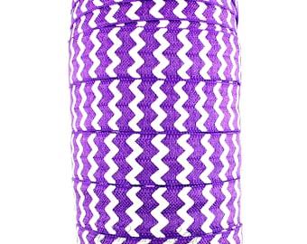 Purple Chevron Fold Over Elastic - Fold Over Elastic, Hair Elastic Bracelet, Elastic, Hair Elastic Tie, Elastic Ribbon, Elastic Hair Band