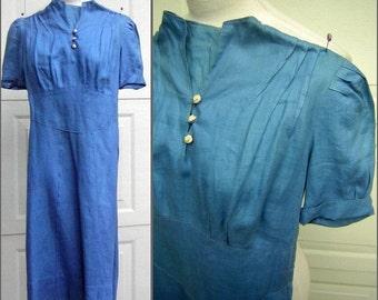Vintage 30s 40s Dress Cornflower Blue Gored Skirt Crocheted Buttons XS to XXS