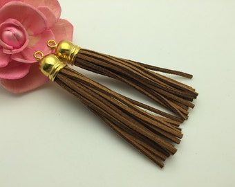 50 Pieces 86x12MM Light Brown Color Faux Suede Leather Tassel With Plastic Gold Top Cap,Phone Accessories, Necklace Tassel Pendant