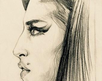 Amy - PRINT of an ORIGINAL Pencil Portrait 10x8 inches