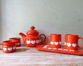 VIntage Waechtersbach Cherry Red and White Hearts Afternoon Tea Setting for 2