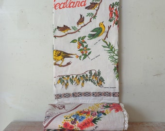 Vintage Collection of Souvenir Tablecloths - Perfect for Crafty Projects - birds and flowers